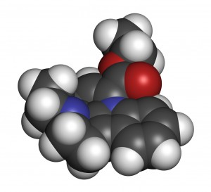 Vinpocetine molecule, synthesized from Vinca minor (periwinkle plant).