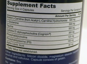 Neuro Optimizer supplement facts. All dosages are shown.
