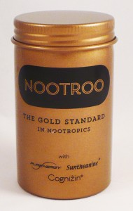 NooTroo has an unusual metal cannister, in gold, of course.