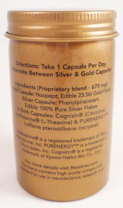 Back of Nootroo bottle. Non-traditional supplement facts presentation.