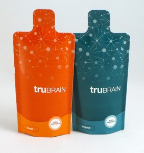 truBrain comes in paper vials; just rip off the top and do it like a shot.
