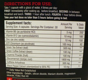Instant Knockout supplement facts & directions.