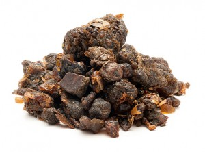 A pile of Guggul resin; dried sap from a type of Myrrh tree.