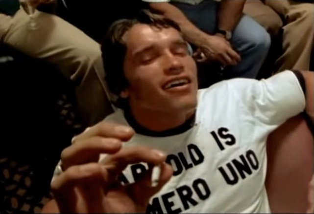 Arnold Schwarzenegger smoking pot.