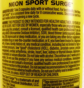 Neon Sport Surge directions & warning.