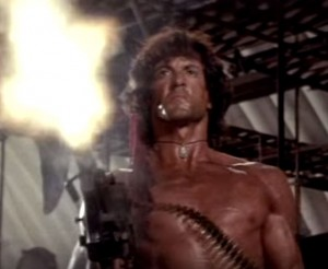 For the record, Rambo likes grenades, but prefers machine guns.