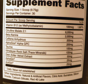 Bucked Up supplement facts