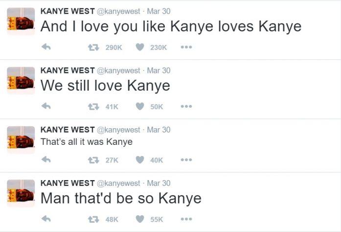 Kanye tweeting about Kanye loving Kanye.