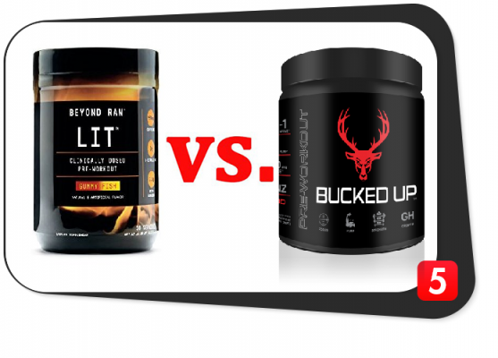 pre-workout supplements beyond raw lit vs bucked up