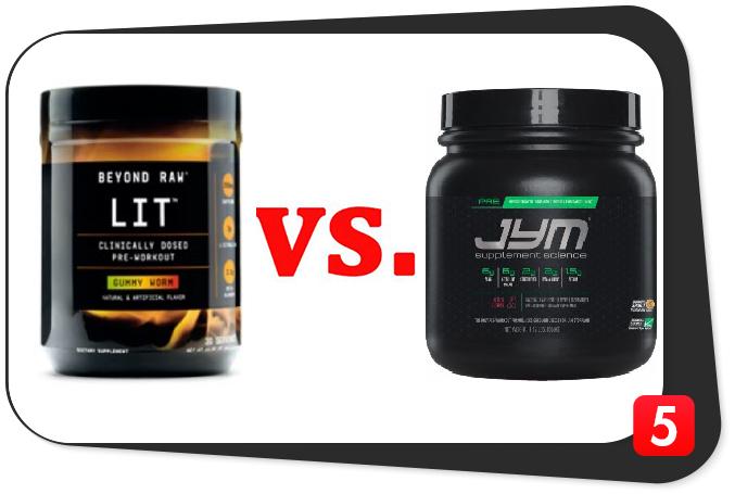 Pre workout supplements Beyond Raw Lit vs Pre Jym Image