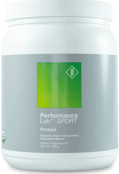 A container of Performance Lab Protein Powder