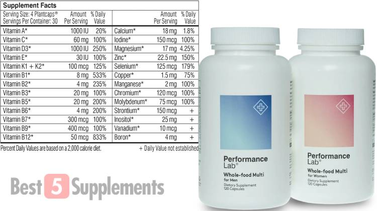 A bottle of Performance Lab next to its supplement facts label, which includes Vitamin B6 & B12