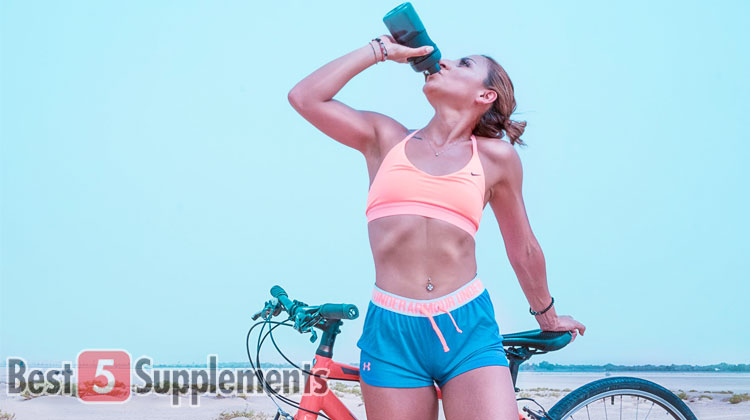 Woman drinking BCAA with artificial sweeteners