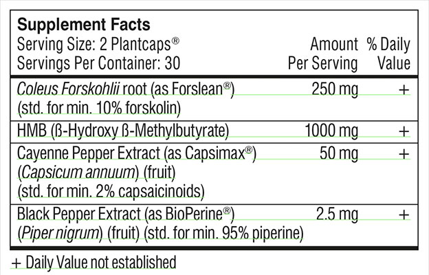 Performance Lab Fat Burner's Supplement Facts Label