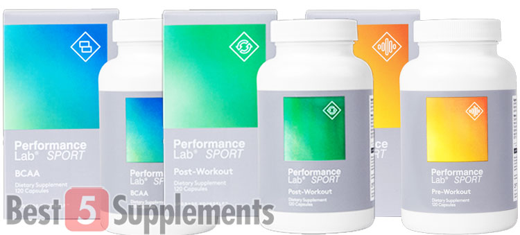Bottles of Performance Lab Post, Pre and BCAA