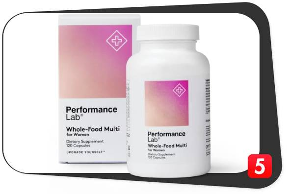 A bottle of Performance Lab Whole-Food Multi which is the best multivitamin for women over 30