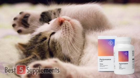 A bottle of Performance Lab sleep next to a cat sleeping to illustrate the best supplements for rugby performance