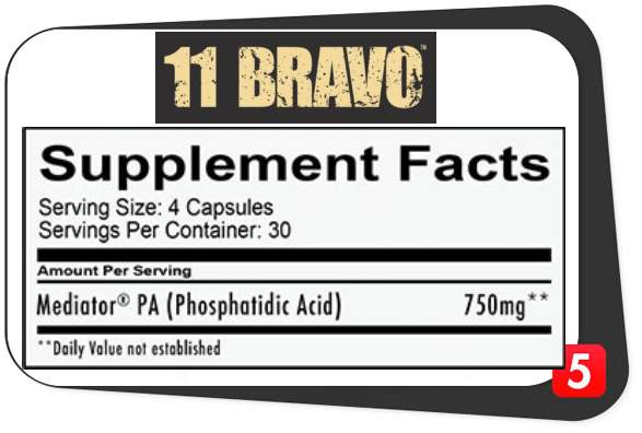 The supplement facts of RedCon1 11 Bravo muscle builder showing its ingredients