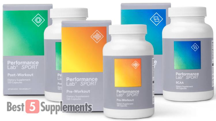 Performance Lab Pre, Post and BCAA bottles as the best supplements to help you get jacked