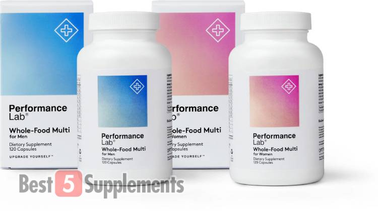 A bottle of the men's and women's Performance Lab Whole-Food Multi which is our best vegan multivitamin