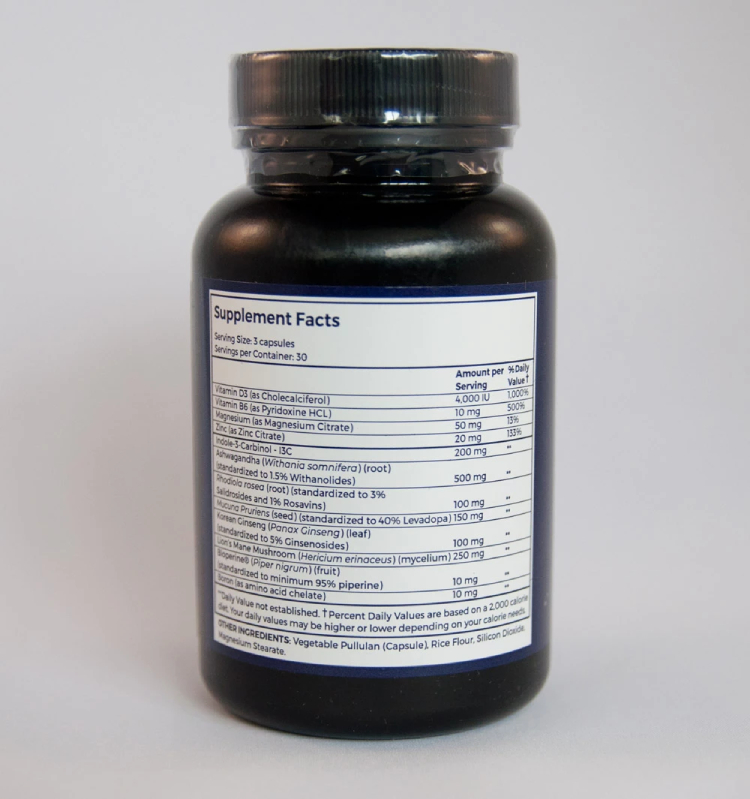 The supplement facts for Centrapeak