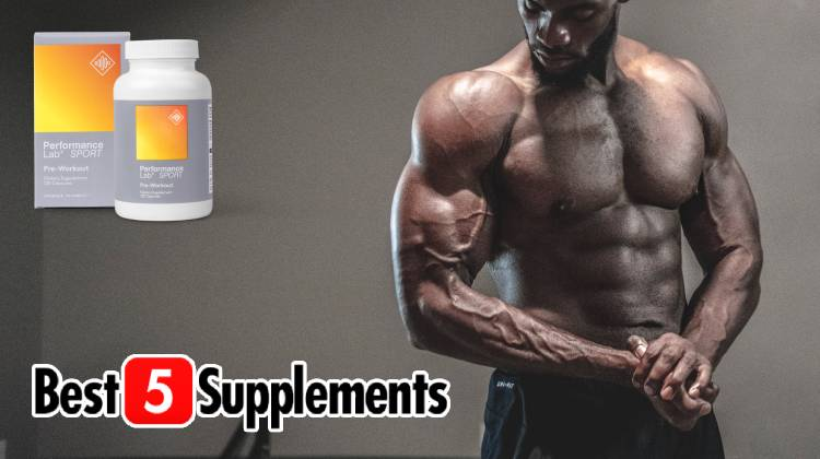 A bottle of Performance Lab Pre which is non-stimulant next to a bodybuilder