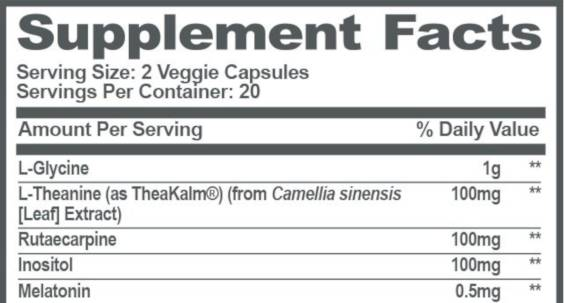 The supplement facts for Genius Sleep Aid for our Review