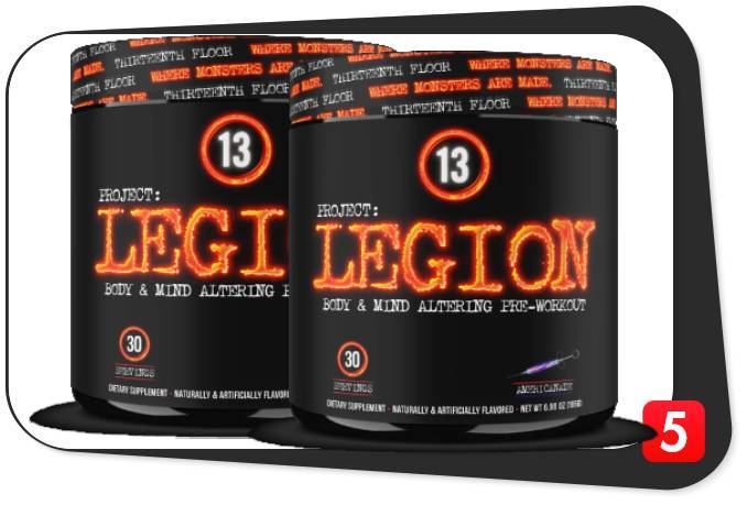 2 bottles of 13th Floor Project: Legion Pre-Workout for our review