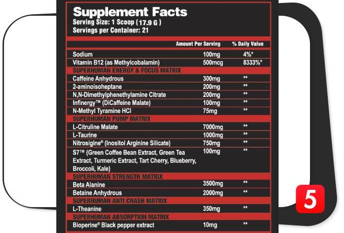 The supplement facts label for Alpha Lion SuperHuman Supreme for this review