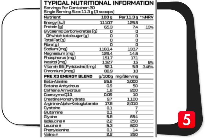 The supplement facts label for Alpha Sport PreX3 in our review