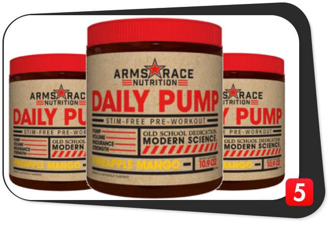 3 bottles of Arms Race Daily Pump Pre-Workout for our review