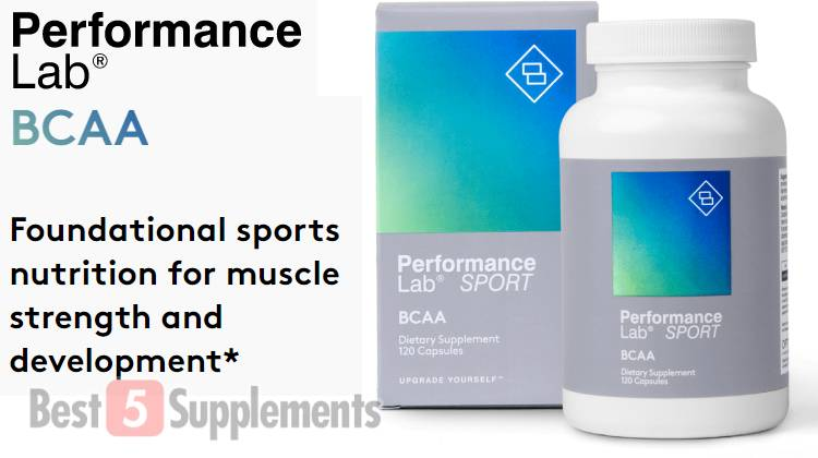 A bottle of Performance Lab BCAA which is our #1 recommended product