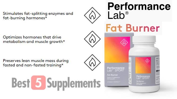 A bottle of Performance Lab Fat Burner showing its benefits