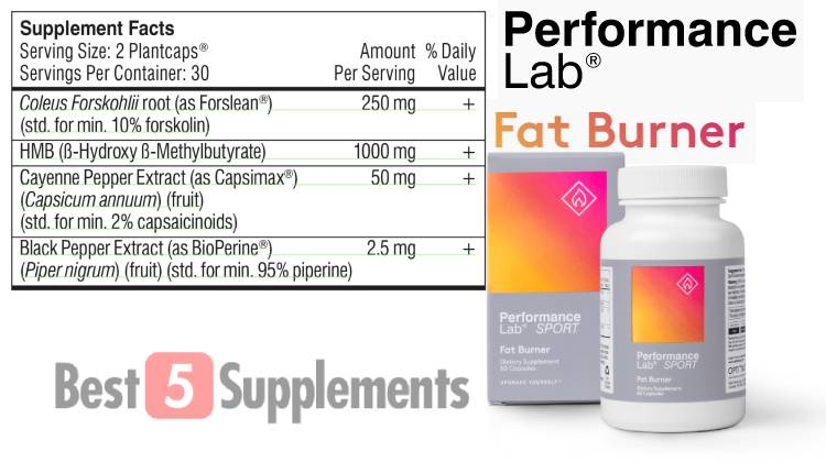 A bottle of Performance Lab Fat Burner next to its supplement facts label showing its ingredients