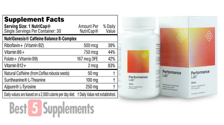 A bottle of Performance Lab Stim next to its supplement facts label listing its ingredients