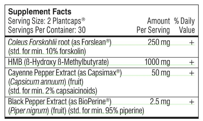 The supplement facts label for Performance Lab Fat Burner showing its ingredients, which is non-stim without caffeine