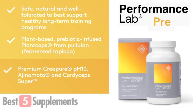 Showing the benefits of the best pre-workout without side effects, Performance Lab Pre