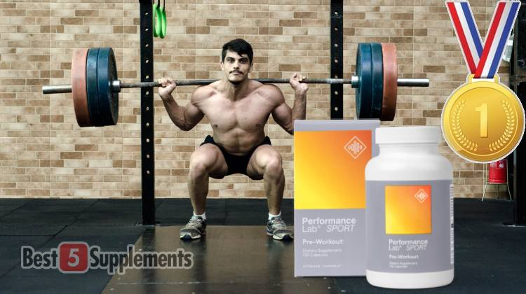 A bottle of Performance Lab Pre in front of a man back squatting with a weighted barbell