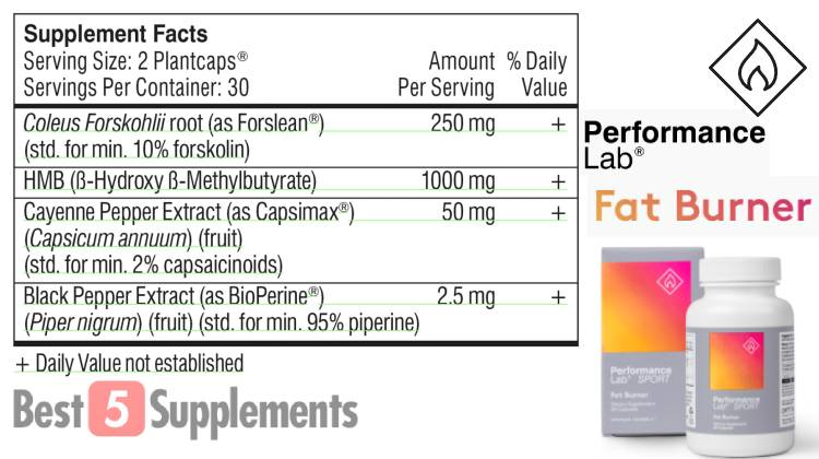 The supplement facts label for Performance Lab Fat Burner