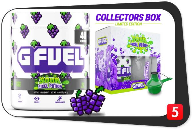 2 tubs of G Fuel that is Sour Pixel Potion Flavor for this review