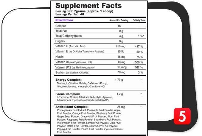 The supplement facts label for G Fuel Sour Pixel Potion in our review