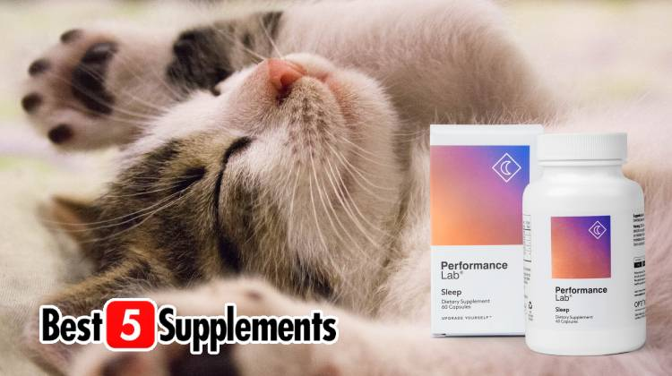 A bottle of Performance Lab Sleep as the recommended natural sleep aid