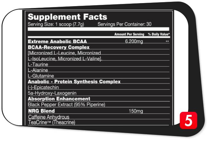 The supplement facts for Killer Labz Brute NRG, showing its ingredients and their dosages, for our review