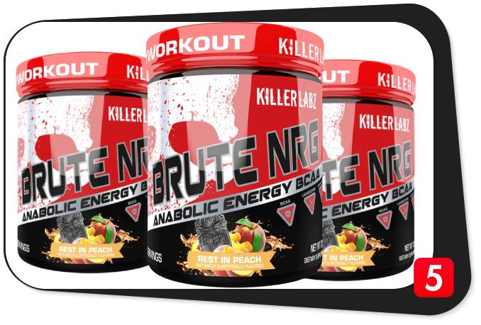 3 containers of Killer Labz Brute NRG, which is a BCAA Energy supplement, for our review