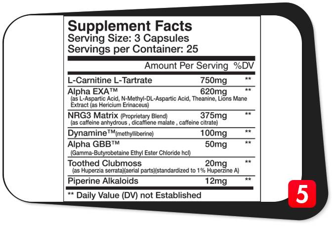 The supplement facts label for Nubreed Metadyne showing its ingredients for our review