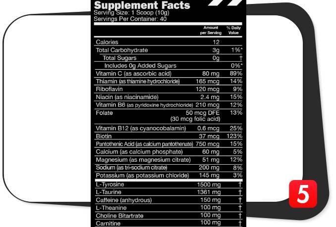 The supplement facts label showing the ingredients contained in Sneak Unreleased for our review