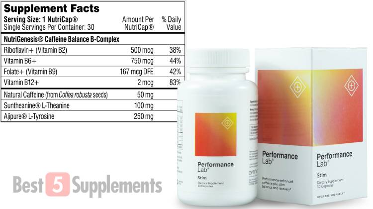 A bottle of Performance Lab Stim next to its Supplement Facts