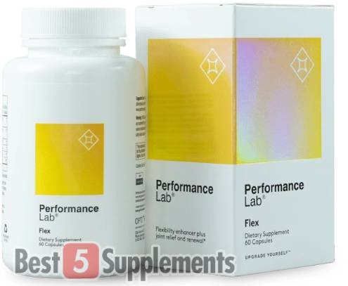 A bottle of Performance Lab Flex as our recommended joint support supplement