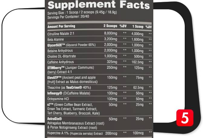 The supplement facts label for Darkside Ultra Pre-Workout in our review