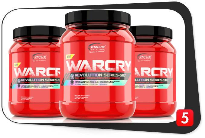 3 containers of Genius Nutritrion Warcry pre-workout for our review